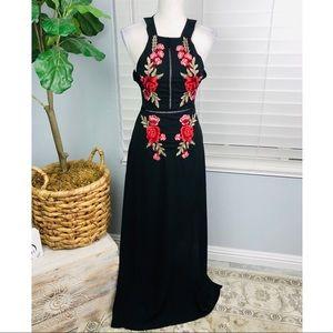 NWOT BLACK FLORAL MAXI BACK STRAP DRESS